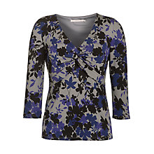 Buy John Lewis Capsule Collection Vintage Leaf Print Twist Front Top, Purple/Black/Grey Online at johnlewis.com