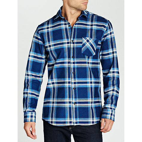Buy Selected Homme Indigo Check Shirt, Blue Online at johnlewis.com
