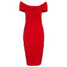 Buy Alexon Gathered Bardot Dress, Red Online at johnlewis.com