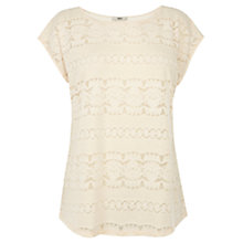 Buy Oasis Burnout Lace Top, Off White Online at johnlewis.com