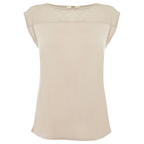 Buy Oasis Metallic Detail Top, Mid Pink Online at johnlewis.com