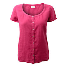 Buy East Capped Sleeve Button Down Blouse, Bright Pink Online at johnlewis.com