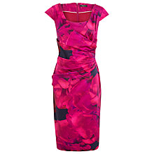 Buy Alexon Floral Gathered Sateen Dress, Pink Online at johnlewis.com