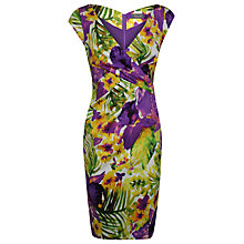 Buy Alexon Tropical Floral Print Sateen Dress, Green Online at johnlewis.com