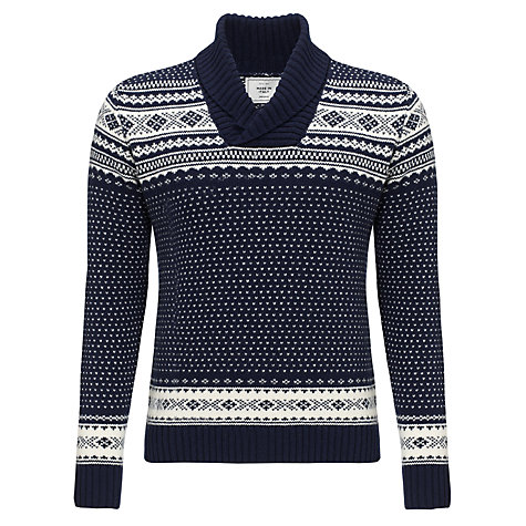 Buy John Lewis Jacquard Shawl Neck Jumper, Navy Online at johnlewis.com