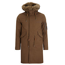 Buy Pretty Green Hooded Parka Coat, Khaki Online at johnlewis.com