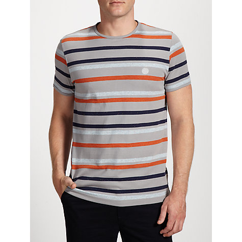 Buy Pretty Green Striped Cotton Tee, Grey/Multi Online at johnlewis.com