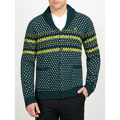 Buy Lyle & Scott Shawl Collar Fair Isle Cardigan, Green/Multi Online at johnlewis.com