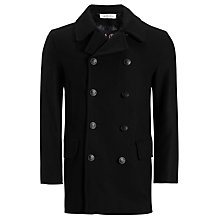 Buy Gloverall Churchill Wool Rich Reefer Coat, Black Online at johnlewis.com