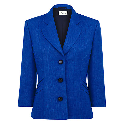 Buy Precis Petite Textured Jacket, Electric Blue Online at johnlewis.com