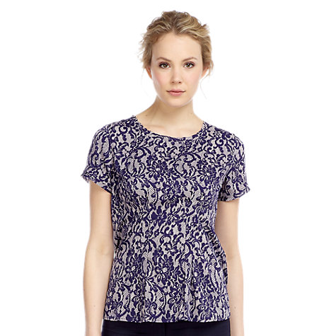 Buy Kaliko Lace Print Top, Blue Online at johnlewis.com