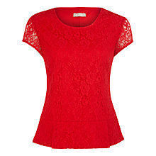 Buy Planet Lace Peplum Top, Red Online at johnlewis.com