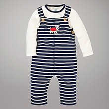 Buy John Lewis Baby Striped Dungarees and Top Set, Blue/White Online at johnlewis.com
