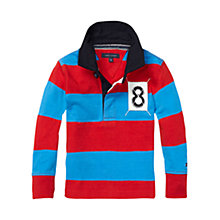 Buy Tommy Hilfiger Boys' Oldport Stripe Rugby Shirt, Red/Blue Online at johnlewis.com