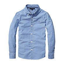 Buy Tommy Hilfiger Boys' School Stripe Long Sleeved Shirt, Blue Online at johnlewis.com