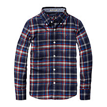 Buy Tommy Hilfiger Boys' Amherst Long Sleeved Check Shirt, Red/Navy Online at johnlewis.com
