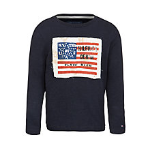 Buy Tommy Hilfiger Boys' Lander Flag Long Sleeve Top, Navy Online at johnlewis.com