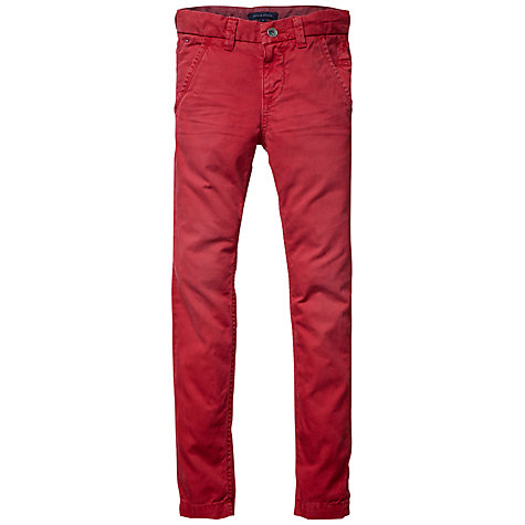 Buy Tommy Hilfiger Boys' Freddie Chino Trousers, Red Online at johnlewis.com
