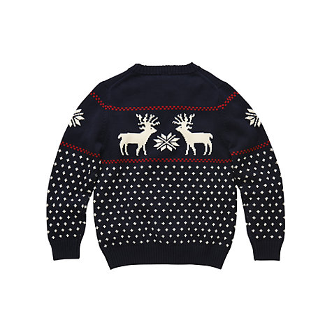Buy Gant Boys' Cotton Reindeer Christmas Jumper, Navy Online at johnlewis.com