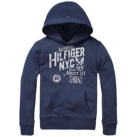 Buy Tommy Hilfiger Boys' NYC Pullover Hoodie, Navy Marl Online at johnlewis.com