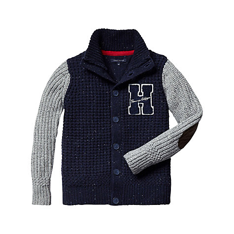 Buy Tommy Hilfiger Boys' Suede Patch Cardigan, Navy/Grey Online at johnlewis.com