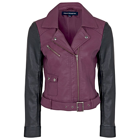 Buy French Connection Athena Jacket, Cherry Tonic/Black Online at johnlewis.com