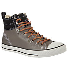 Buy Converse Chuck Taylor 2 Leather Hi-Top Trainers, Charcoal/Black Online at johnlewis.com