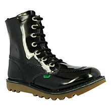 Buy Kickers So High Boots, Patent Black Online at johnlewis.com