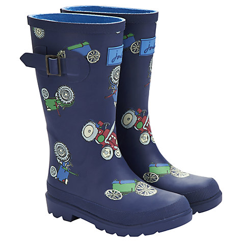 Buy Little Joule Tractor Wellington Boots, Blue/Multi Online at johnlewis.com