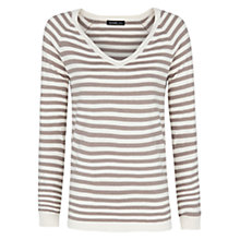 Buy Mango Striped Jumper, Light Pastel Brown Online at johnlewis.com