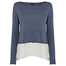 Buy Warehouse Woven Hem Jumper, Navy Online at johnlewis.com