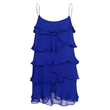 Buy Mango Ruffle Chiffon Dress, Medium Blue Online at johnlewis.com