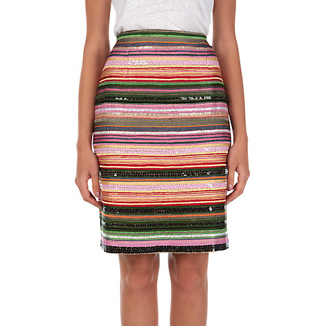 Buy Jigsaw Embroidered Stripe Sequin Skirt, Multi Online at johnlewis.com