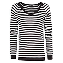 Buy Mango Striped Jumper, Black Online at johnlewis.com