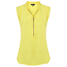 Buy Warehouse Extended Shoulder Zip Blouse, Yellow Online at johnlewis.com