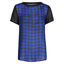Buy Mango Check Chiffon Blouse, Medium Blue Online at johnlewis.com