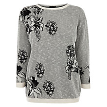 Buy Warehouse Mambo Flower Jumper, Black Online at johnlewis.com