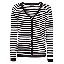 Buy Mango Striped Knitted Cardigan, Black Online at johnlewis.com