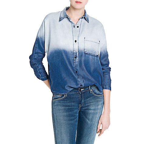 Buy Mango Tencel Ombrã Shirt, Navy Online at johnlewis.com