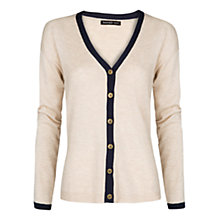 Buy Mango Contrast Trim Cardigan, Light Beige Online at johnlewis.com