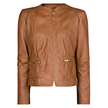 Buy Mango Leather Zipper Jacket Online at johnlewis.com