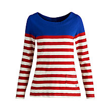 Buy Joules Anwen Slub Stripe Top, Blue/Red Online at johnlewis.com