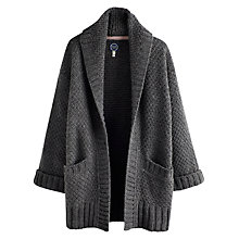 Buy Joules Fallowdale Chunky Open Cardigan, Grey Marl Online at johnlewis.com