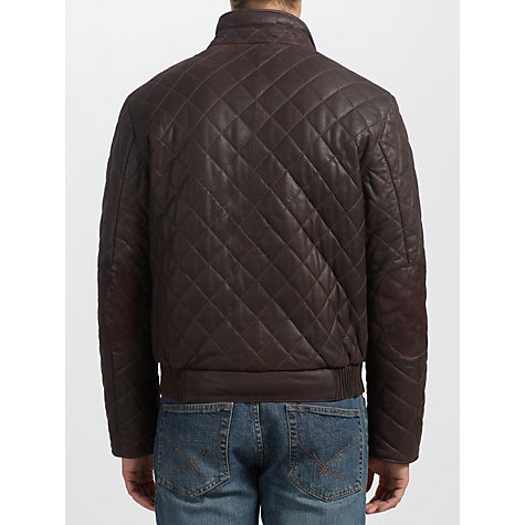 Buy Bugatti Leather Quilted Jacket, Brown Online at johnlewis.com