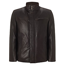 Buy Bugatti Leather Funnel Neck Coat, Brown Online at johnlewis.com