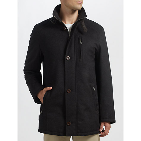 Buy Bugatti Virgin Wool & Cashmere Funnel Neck Coat, Black Online at johnlewis.com