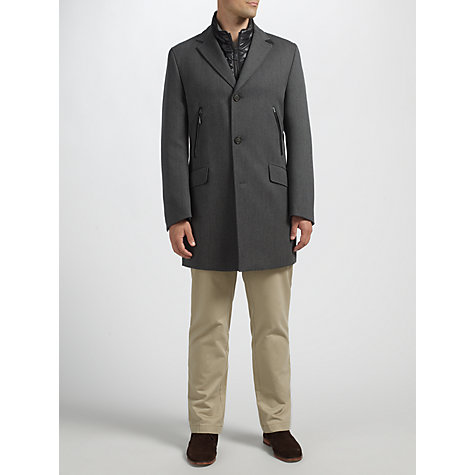 Buy Buggati Technical Lined Wool Epsom Coat, Grey Online at johnlewis.com