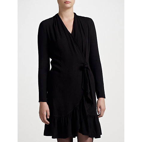 Buy Ghost Rosie Ruffle Wrap Dress, Black Online at johnlewis.com