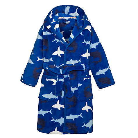 Buy John Lewis Boy Shark Print Hooded Robe, Blue Online at johnlewis.com