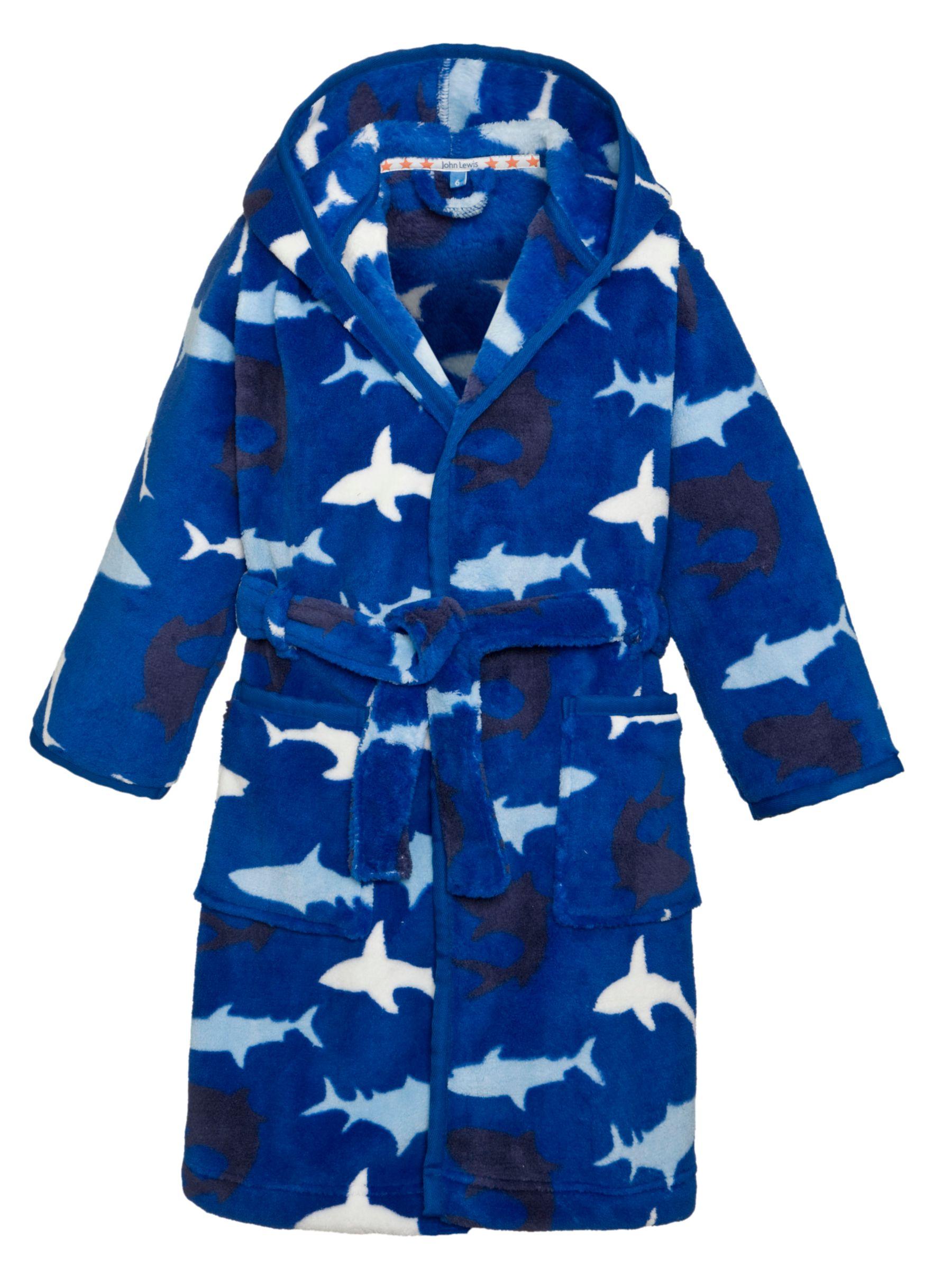 John Lewis Boy Shark Print Hooded Robe, Blue